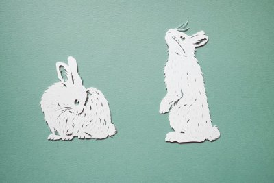 Papercut Illustrations for Libelle Magazine - Bunnies - Whispering Paper