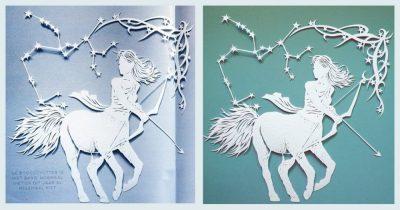 Papercut Illustrations for Libelle Magazine - 2: Sagittarius Magazine & Original - Whispering Paper