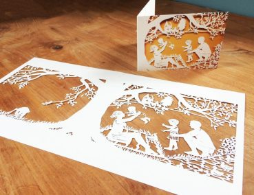 Papercut Birth Announcement - Aksel - Original with card side - Whispering Paper