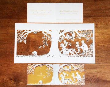 Papercut Birth Announcement - Aksel - Original with card total - blurred details - Whispering paper