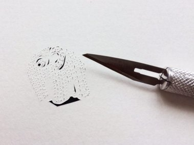 Papercut Birth Announcement - Aksel - Work in progress detail toy - Whispering Paper