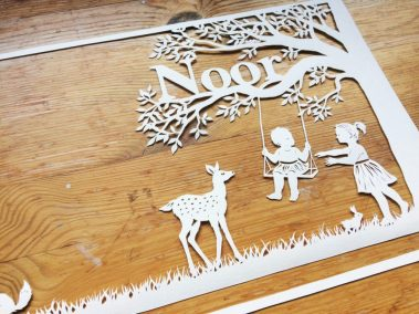Papercut Birth Announcement Card - Noor - Detail Front - Whispering Paper