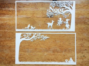 Papercut Birth Announcement Card - Noor - Two Papercuts - Whispering Paper