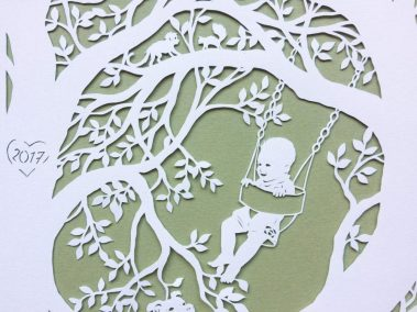 Papercut Gift for a Nanny - Detail boy monkey squirrel - Whispering Paper