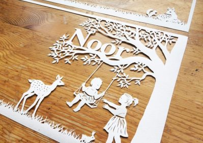 Papercut Birth Announcement Card - Noor - 2: front from Right - Whispering Paper