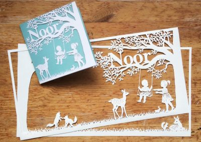 Papercut Birth Announcement Card - Noor - Card with Papercuts 1 - Whispering Paper