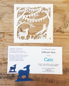 Custom Birth Announcement Cards - Fairytale Forest - Cato - Papercuts with interior card - Whispering Paper