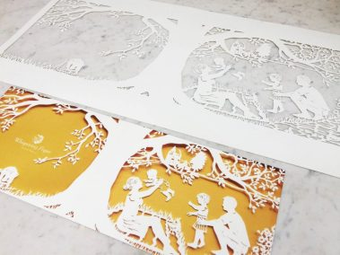 Papercut Birth Announcement - Aksel - Original with Card side on marble - Whispering Paper
