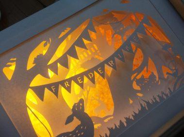 Bespoke Nightlight Dioramas - Frederike - Side view - Illuminated - Whispering Paper