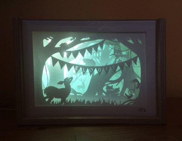 Bespoke Nightlight Dioramas - Elodie - Front view - Illuminated - Whispering Paper
