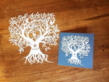 Personal Birth Announcement with Lifetree - Noran - Papercut with Card 3 - Whispering Paper