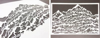 Papercut Anniversary Gift - Mountain Poem - 2: Wip & total on black - Whispering Paper