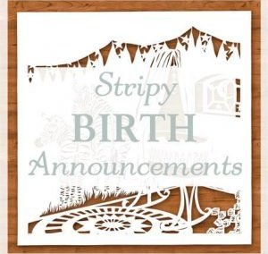 Custom Birth Announcement with Stripes
