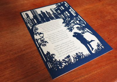 Papercut Birthday Gift - Cityscape poem - Total on wood Side - Whispering Paper