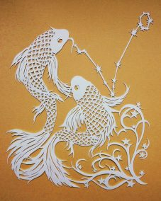 Papercut Illustrations for Libelle Magazine - Pisces - Gold - Whispering Paper