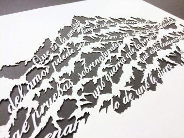 Papercut Anniversary Gift - Mountain Poem - Work in Progress - Whispering Paper