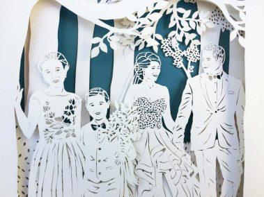 Anniversary Family Wedding - Layered Papercut - Detail Family 1 - Whispering Paper