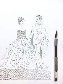 Anniversary Family Wedding - Layered Papercut - Work in Progress - Couple - Whispering Paper