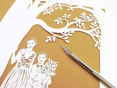 Anniversary Family Wedding - Layered Papercut - Kids from Side - Whispering Paper