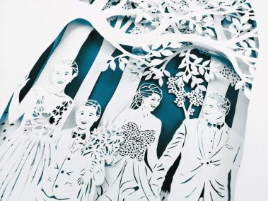 Anniversary Family Wedding - Layered Papercut - Total from side - Whispering Paper