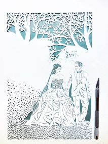 Anniversary Family Wedding - Layered Papercut - Work in Progress - Couple and Branches - Whispering Paper