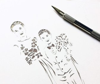 Anniversary Family Wedding - Layered Papercut - Work in Progress - Kids - Whispering Paper