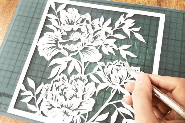 Template Peonies Papercutting DIY - Whispering Paper