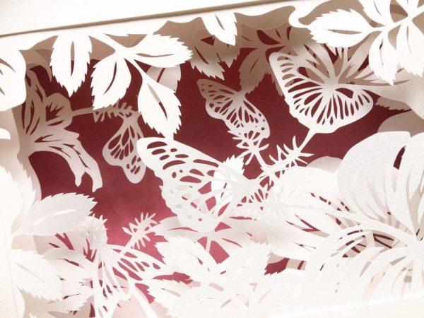 Diorama Nightlight - Butterflies & Hibiscus - Detail Pink