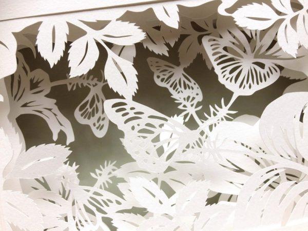 Diorama Nightlight - Butterflies & Hibiscus - Detail Jade