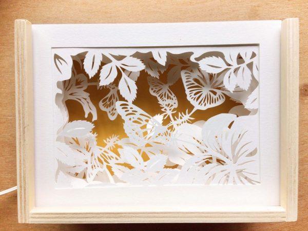Diorama Nightlight - Butterflies & Hibiscus - Total Yellow