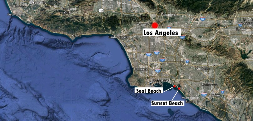 seal beach sunset beach map