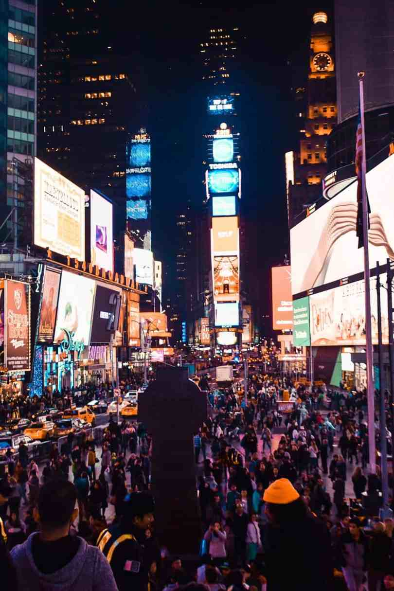 times square in the night new york city