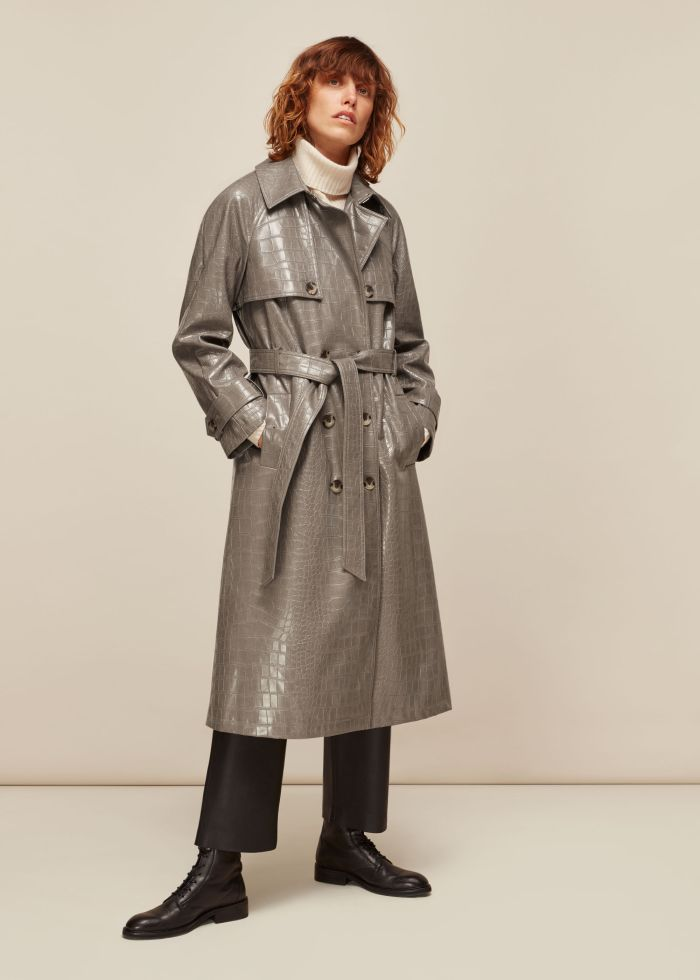 CROC BELTED TRENCH COAT french connection