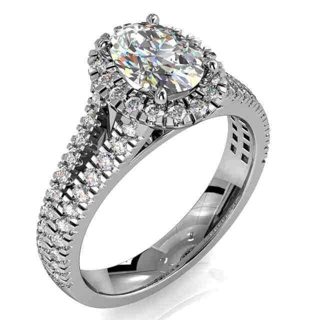 Oval Cut Diamond Halo Engagement Ring