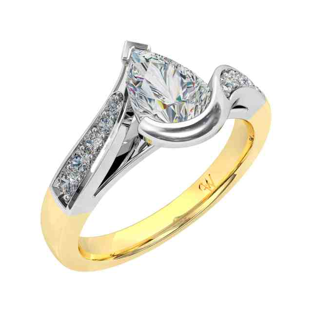Pear Shaped Diamond Solitaire Engagement Ring