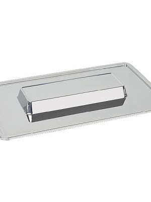 Mirror finished stainless steel trays with raised centre for food display and buffet use.