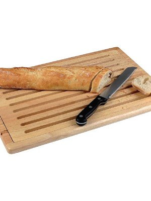 Gastronorm sized slatted wood chopping board with bread crumb shelf and anti-slip feet.