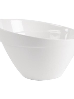 Attractive sloping melamine bowls with a collar design for stacking. Non- slip rubber feet for stability. Dishwasher