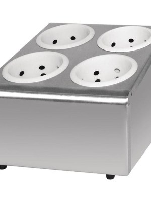 Stainless steel cutlery basket holder with angled fascias for easy access. Comes with metal inserts.