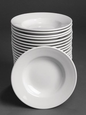 Great value porcelain rimmed soup bowls from Athena Hotelware which is tough