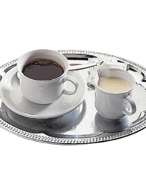 Chrome-plated oval tray with elegant patterned edge.