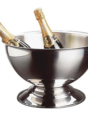Polished stainless steel champagne bowl.