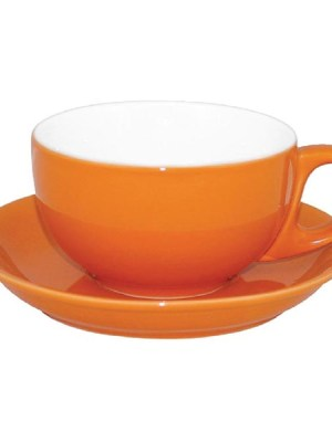 Add a touch of individuality to your table with this contemporary range of coloured porcelain crockery by Olympia. The range is ideal for simple yet vivid food and hot drinks presentation. This cappuccino saucer in a bright orange finish has soft-rolled