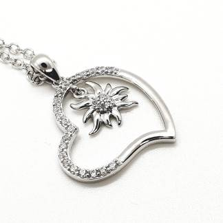 Pendentif Coeur edelweiss argent 925 - By White Alpina - Modèle A - Grand - Brillant