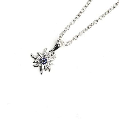 Pendentif en argent 925 en forme d'edelweiss - Petit - Bleu