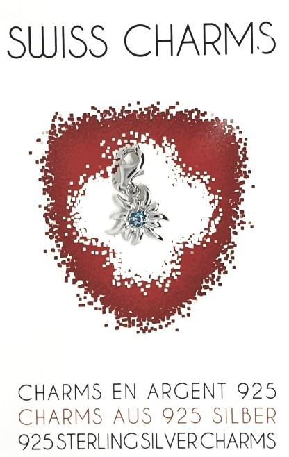 Charms en argent 925 en forme d'edelweiss. Petit - Bleu