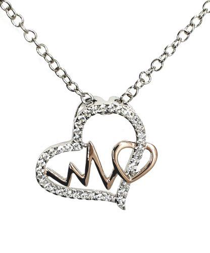 Pendentif Coeur Coup de foudre en argent 925 avec des zircons transparents by White Alpina. Pendentif pour femmes. Livré dans un écrin avec une chaîne