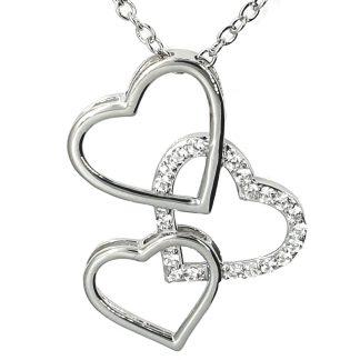 Pendentif Coeur trio en argent 925 avec des zircons transparents modèle by White Alpina. Pendentif pour femmes. Livré dans un écrin avec une chaîne