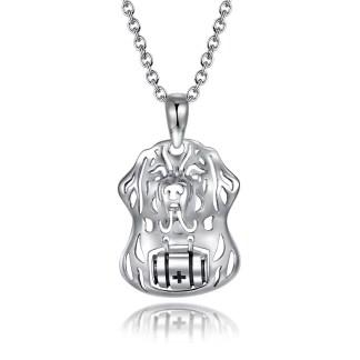 Pendentif Saint-Bernard en argent 925 by White Alpina. Ce magnifique collier Saint-Bernard pour femme est livré dans un écrin avec une chaîne.