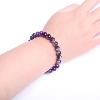 Magnifique Bracelet en Améthyste avec perles 8 mm brillantes